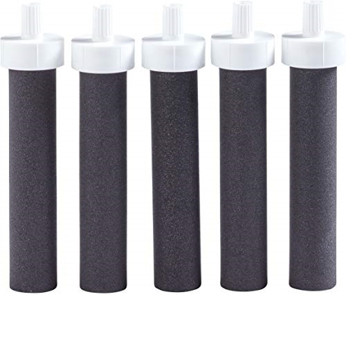 Brita Water Bottle Replacement Filters, 5 Count, Black
