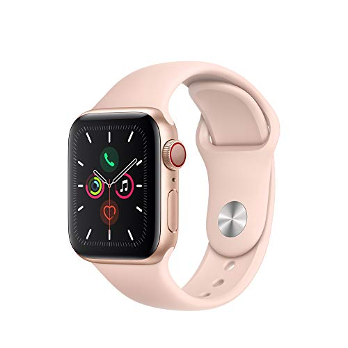 Apple Watch Series 5 (GPS + Cellular, 40mm) - Gold Aluminum Case with Pink Sport Band $390.87
