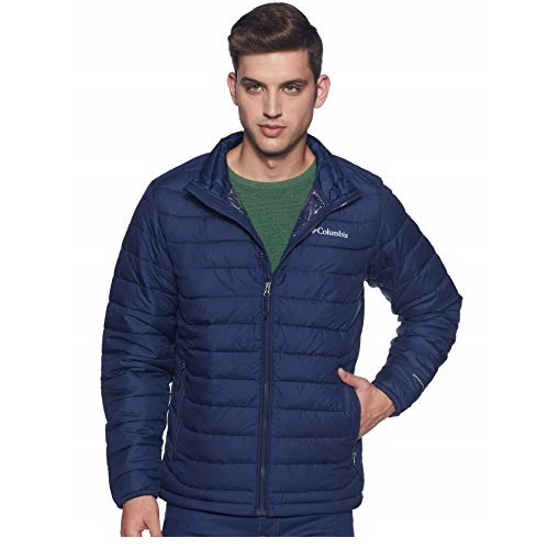 Columbia Men's Powder Lite Winter Jacket, Water repellent, Collegiate Navy, Small