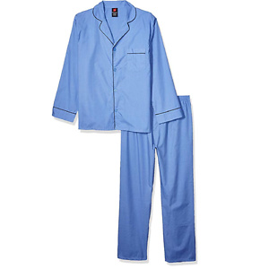 Hanes Men's Long Sleeve Leg Pajama Gift Set,  Blue,   X-Large, Medium Blue Solid, X-Large