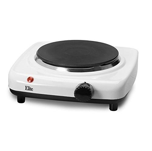 Elite Cuisine ESB-301F Maxi-Matic 1000 Watt Single Buffet Burner Electric Hot Plate, White