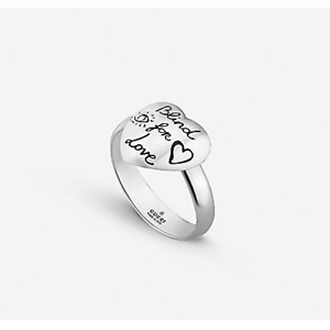 GUCCI Blind For Love heart shape sterling silver ring