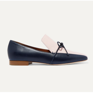 MALONE SOULIERS + Roksanda Celia bow-detailed two-tone leather loafers
