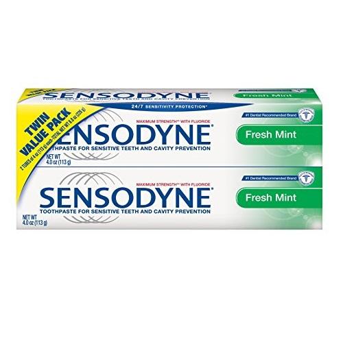 Sensodyne Sensitivity Toothpaste for Sensitive Teeth, Fresh Mint, 4 ounce (Pack of 2)