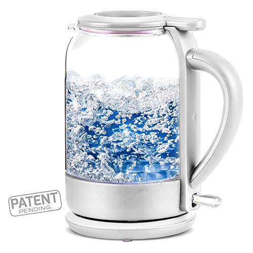 Ovente Electric Glass Hot Water Kettle 1.5 Liter with ProntoFill Technology The Easy Fill Solution, Heat-Tempered Borosilicate Glass, 1500 Watts Fast Heating Element, White (KG516W)