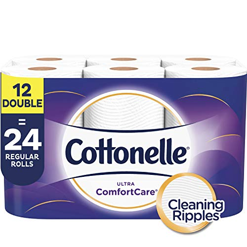 Cottonelle Ultra ComfortCare Soft Toilet Paper, 12 Double Rolls (Equals 24 Single Rolls), Bath Tissue