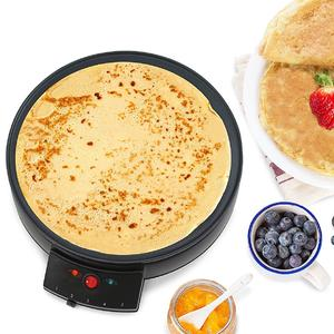 """Elite Cuisine ECP-126 Electric Crepe Maker and Non-stick Griddle with Spreader, Spatula and Recipes, 12"""", Black"""