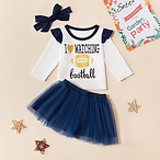 3-piece Baby / Toddler I LOVE WATCHING FOOTBALL Top and Tulle Skirt with Headband Set