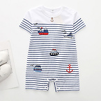 Chic Boats Graphic Striped Short-sleeve Romper for Baby Boy