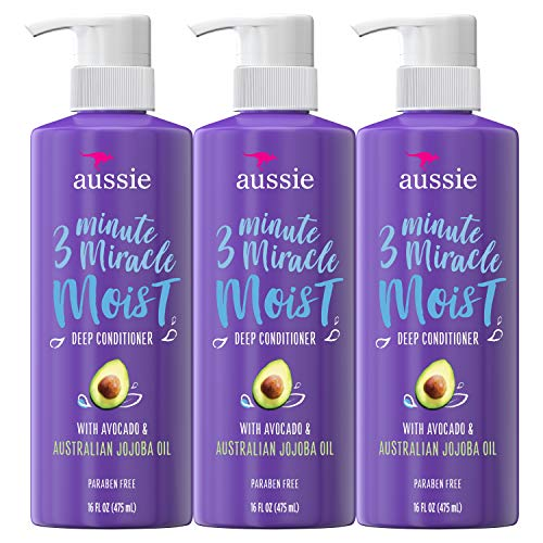 Aussie Deep Conditioner with Avocado. Paraben Free, 3 Minute Miracle Moist for Dry Hair, 16 Fluid Ounce, Pack of 3