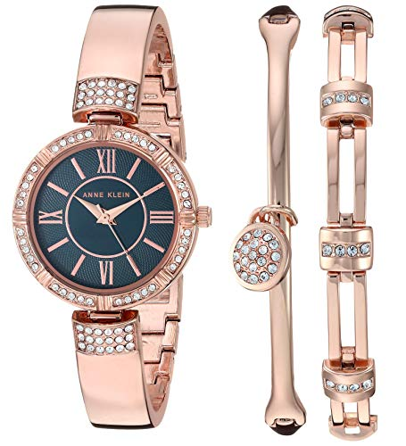 Anne Klein Women's Swarovski Crystal Accented Watch and Bracelet Set $43.42