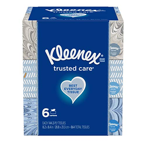 Kleenex Trusted Care Everyday Facial Tissues, Flat Box, 144 Tissues per Flat Box, (Pack of 6)