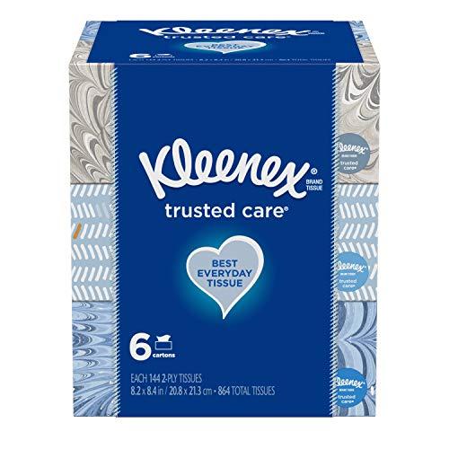 感冒/过敏季节必备!Kleenex Trusted Care 面巾纸,144抽/盒,共6盒