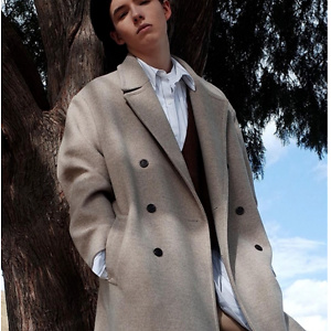 EVANLAFORET [Unisex] Oversized Double Long Coat Oatmeal
