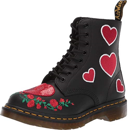 Dr. Martens Women's 1460 Pascal Hearts Leather Lace Up Boot Black