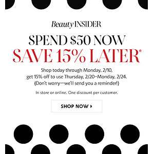 Sephora: Get 15% OFF Coupon Code With $50 Purchase