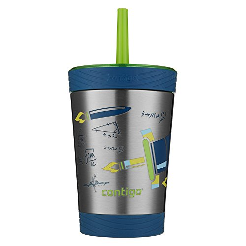 Contigo Stainless Steel Spill Proof Kids Tumbler with Straw, 12 oz, Granny Smith with Rocket Design