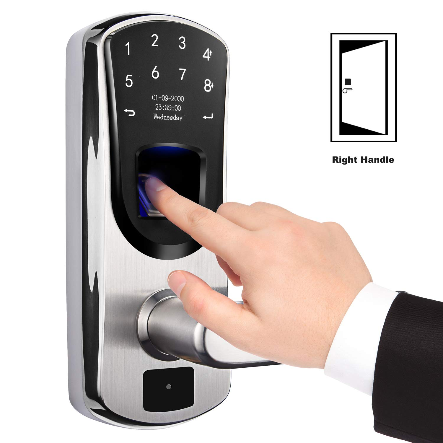 weJupit V8 Smart Lock, Fingerprint and Touchscreen Keyless Stainless Steel Lever Door Lock, Password Lock with Anti-peep Code, Backup Mechanical Key