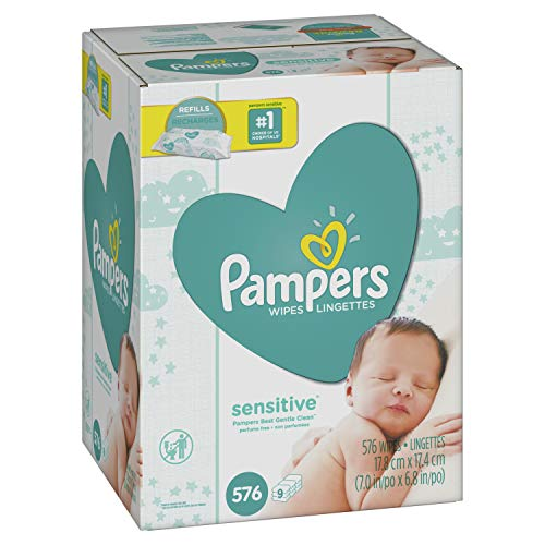 Pampers Sensitive Water-Based Baby Diaper Wipes, 9 Refill Packs for Dispenser Tub - Hypoallergenic and Unscented - 576 Count x 2