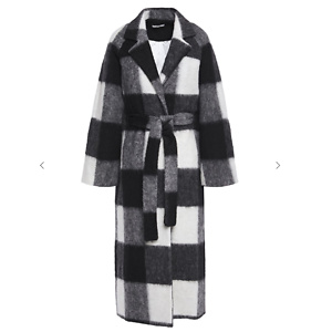 GANNI McKinney belted checked brushed-felt coat