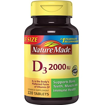 Nature Made Vitamin D3 2000 IU (50 mcg) Tablets, 220 Count for Bone Health