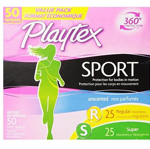 Playtex 运动系列无香型卫生棉条, 50支装