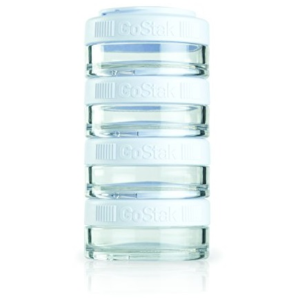 BlenderBottle GoStak Twist n' Lock Storage Jars, 40cc 4-Pak, White