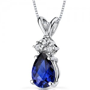 Peora Created Blue Sapphire Pendant with Diamonds in 14 Karat White Gold, 1 Carat, Pear Shape, 7x5mm