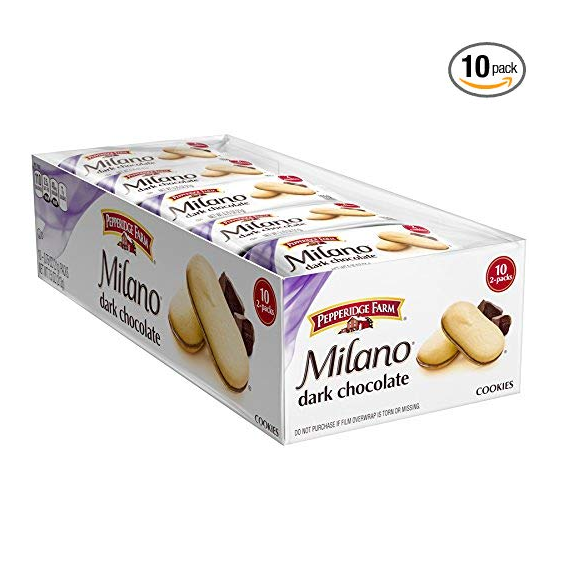 Pepperidge Farm Milano Cookies, Dark Chocolate, 2 Count, Pack of 10
