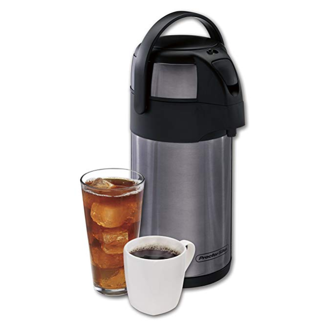 Proctor-Silex 40410 Thermal Airpot Hot Coffee/Cold Beverage Dispenser, Vacuum Insulated, Compact and Portable, 2.5 Liter, Stainless Steel