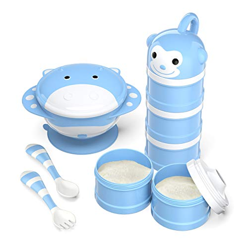 BabyKing Baby Suction Bowl and Spoon Set, Harmless Baby Feeding Set, Children Tableware Set, Stay Put Baby Suction Bowl Spill Proof, Spoons Forks Set,