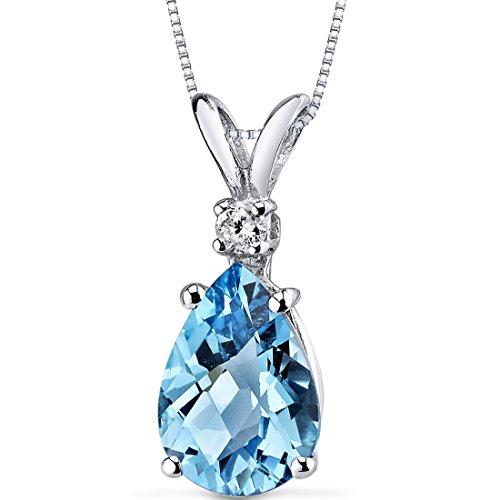 Peora 14 Karat White Gold Pear Shape 2.25 Carats Swiss Blue Topaz Diamond Pendant $129.99
