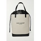 SAINT LAURENTTeddy leather-trimmed printed canvas tote
