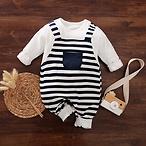 Baby Boy Stripe Long-sleeve Jumpsuit