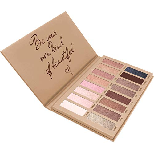 Best Pro Eyeshadow Palette Makeup - Matte + Shimmer 16 Colors - High Pigmented - Professional Vegan Nudes Warm Natural Bronze