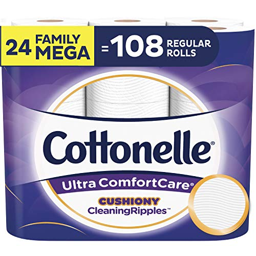 Cottonelle Ultra ComfortCare Toilet Paper with Cushiony CleaningRipples, Soft Biodegradable Bath Tissue, Septic-Safe, 24 Family Mega Rolls $17.92