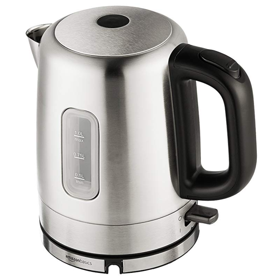 AmazonBasics Stainless Steel Portable Electric Hot Water Kettle - 1 Liter, Silver $15.22