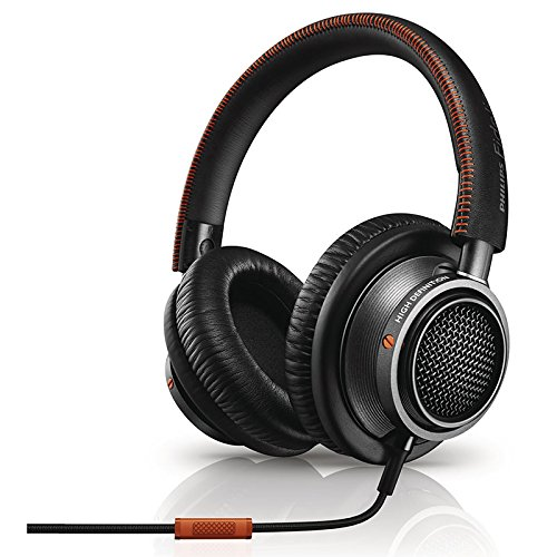 Philips L2BO/27 Fidelio High Fidelity Headphones with Mic and Memory foam cushioning, Black/Orange