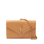 Monogram YSL Grain de Poudre Leather Wallet on Chain