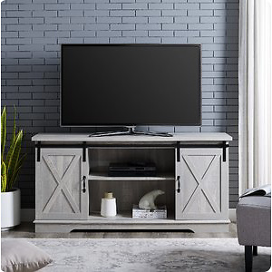 "Manor Park Modern Farmhouse Sliding Barn Door TV Stand for TVs up to 64"" - Stone Grey"