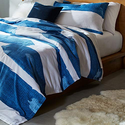 "Rivet Modern Shibori Watercolor Garment-Washed Stripe, King, Duvet Cover Bedding Set, 90"" x 104"", Indigo, White $35.00"