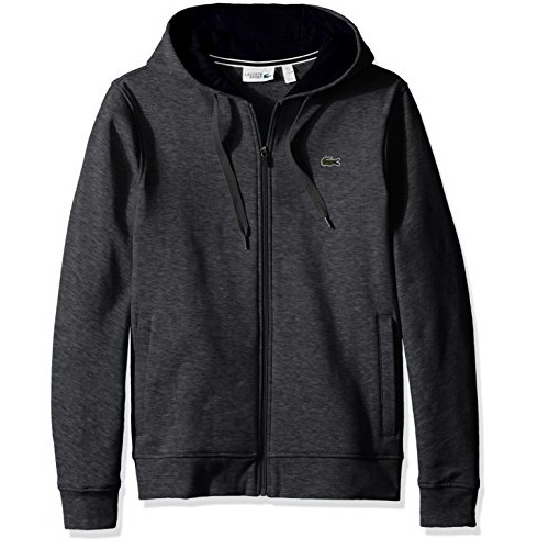 Lacoste Mens Sport Fleece Zip Up Hooded Sweatshirt