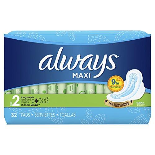 史低价!Always Maxi 超吸收无香护翼卫生巾,32片/包,共6包