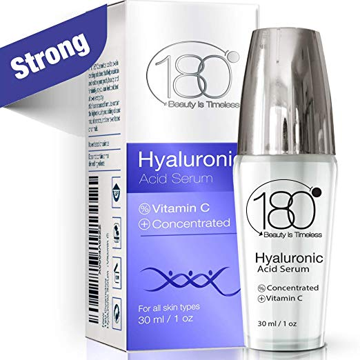 Hyaluronic Acid & Vitamin C Facial Serum by 180 Cosmetics - Concentrated &Pure Hyaluronic Acidfor Immediate Results -