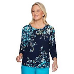 Plus Size Alfred Dunner Easy Street Floral Sweater