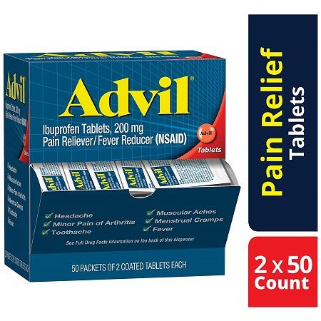 Advil止痛退烧药,布洛芬200mg,100片