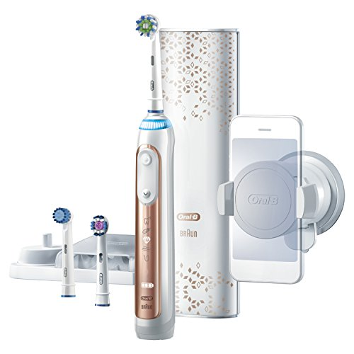 Oral-B Genius Pro 8000 Electronic Power Rechargeable Battery Electric Toothbrush with Bluetooth Connectivity Powered by Braun, Rose Gold