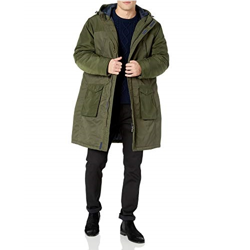 A|X Armani Exchange Men's Trench Coat with Hoodie and Side Pockets