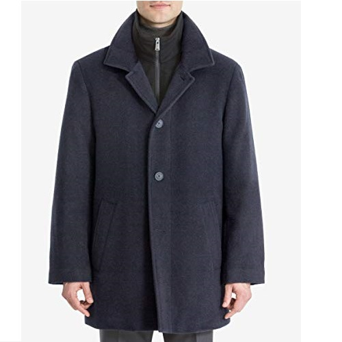 Calvin Klein Men's Modern Style Overcoat with Cold Weather Features
