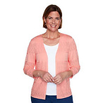 Womens Alfred Dunner Classics Biadere Pointelle Cardigan